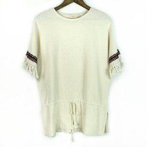 Tory Burch Fringe Cuff Textured Tribal Sweater